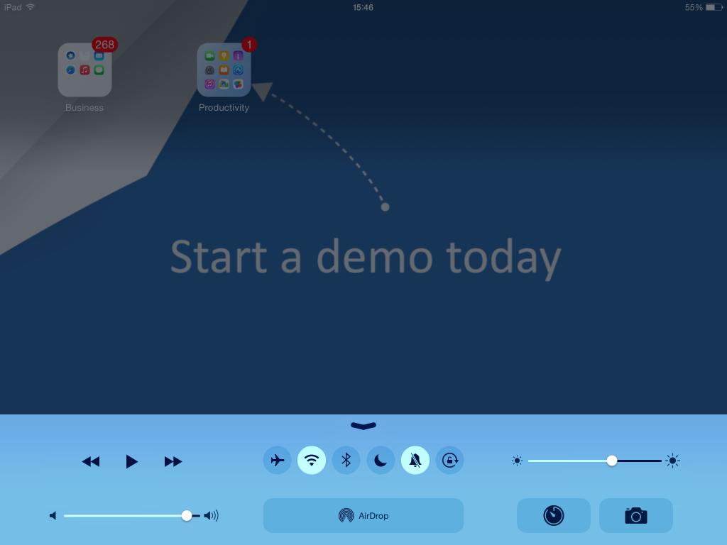 iPad control centre