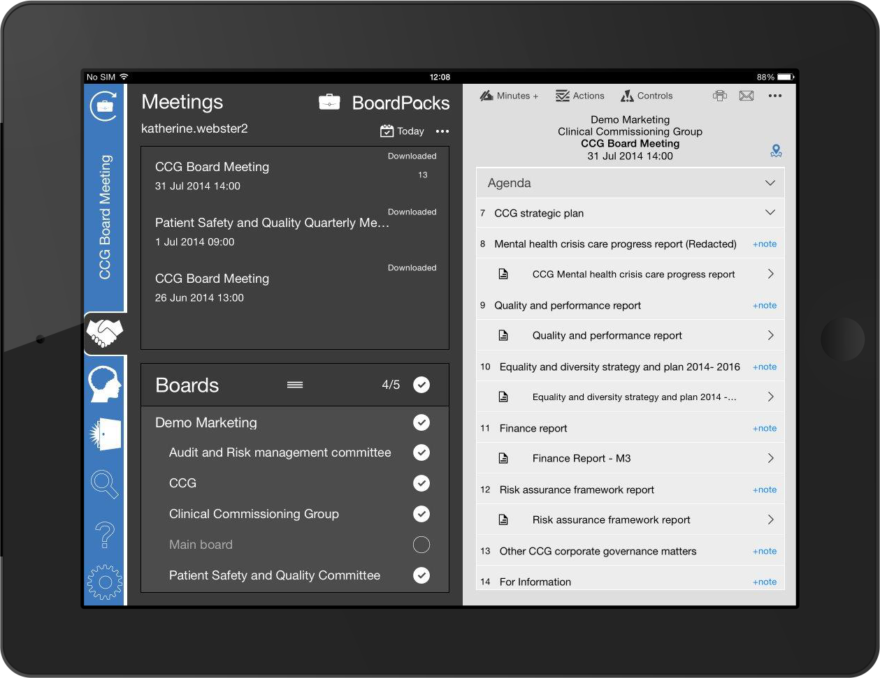 BoardPacks 365 meeting management software on an iPad